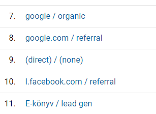 google analytics, forrás médium 5